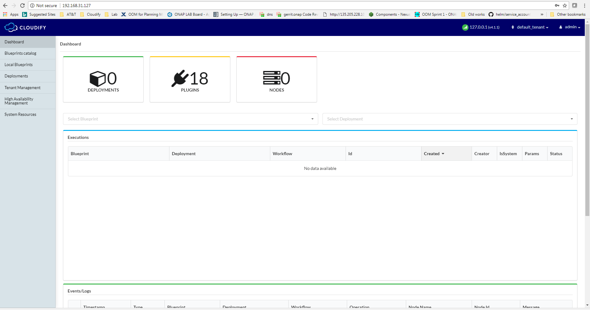 Onap on kubernetes on cloudify developer wiki confluence then you can access the cloudify manager gui from that ip address the default username and password is adminadmin malvernweather Choice Image
